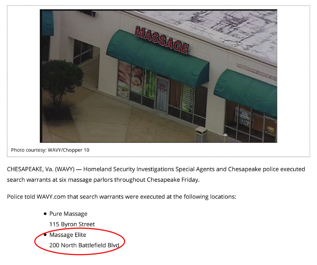 Media report: Chesapeake massage parlors