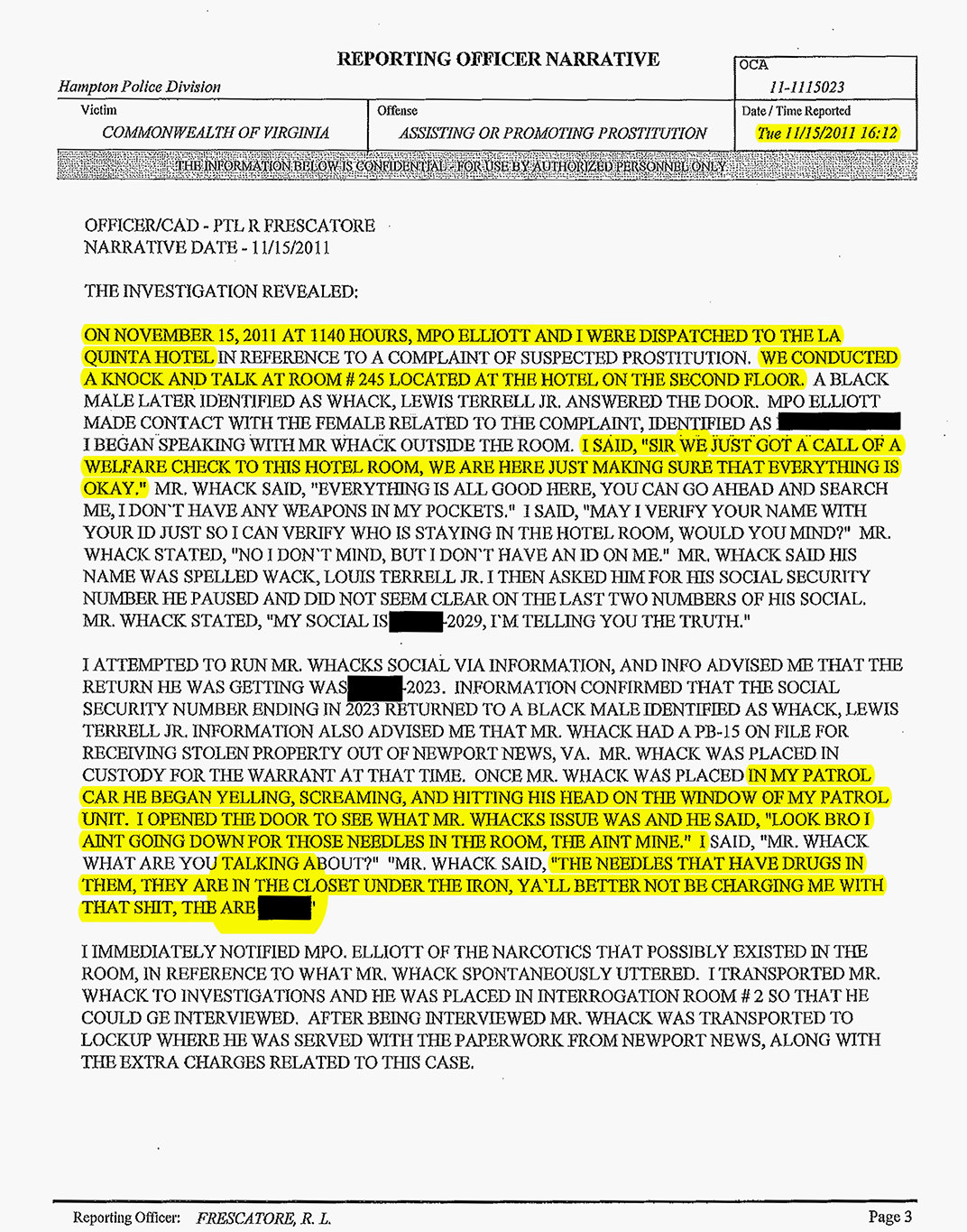 Hampton police report about Ron Miscavige hooker page 1