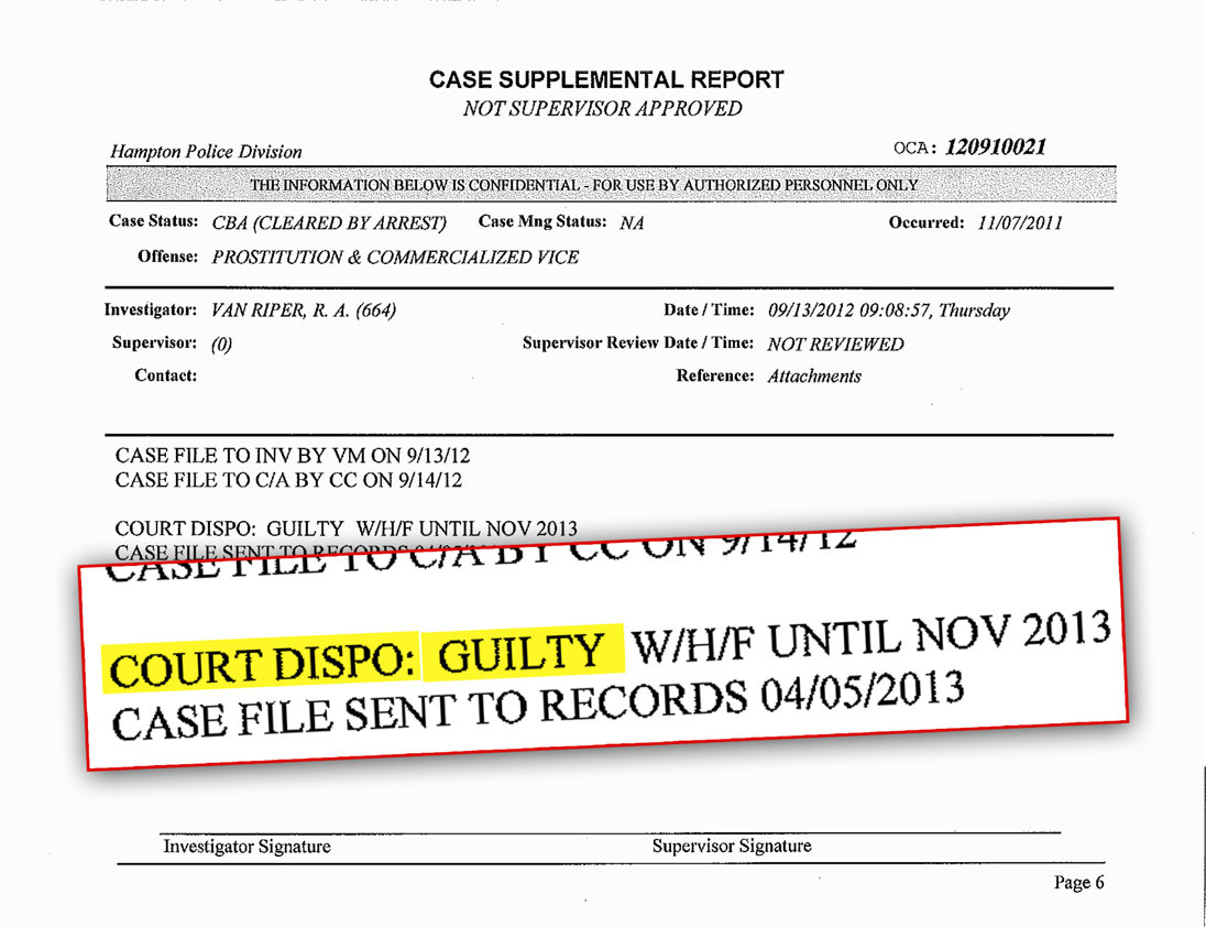 Ronald R.M. Miscavige's arrest report. Guilty