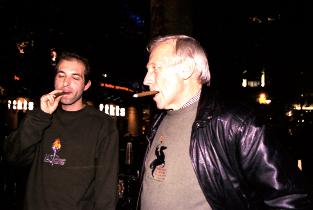 Ron Miscavige and Chris Maio in London smoking cigars