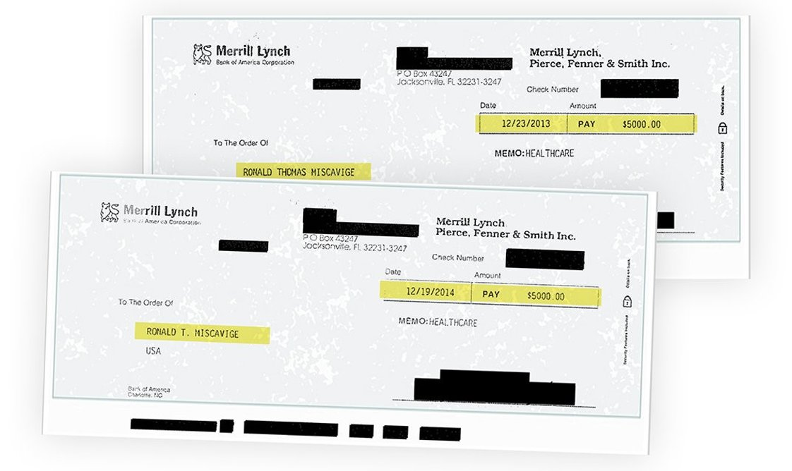 Checks from Ron's son David for $5,000 a year for health insurance