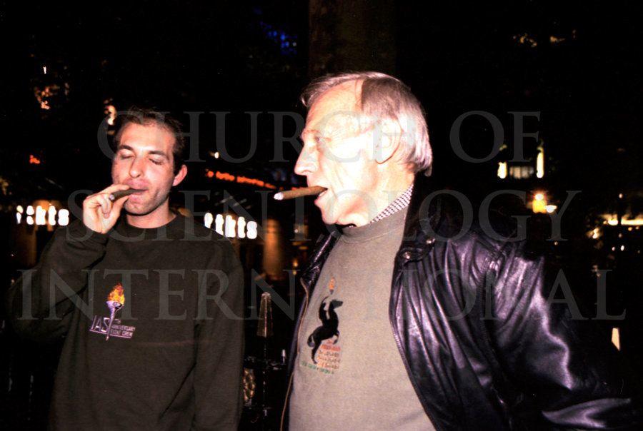 Ron Miscavige with former band member in London, cigars