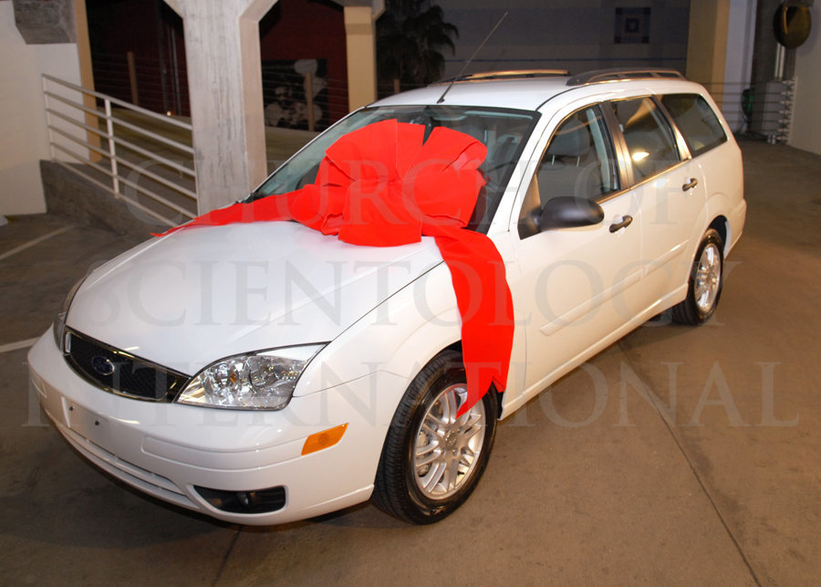 Red Bow on White Ford Car, Ron Miscavige - Birthday Gift