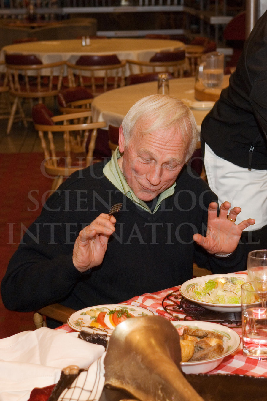 Ron Miscavige Birthday with fork in hand