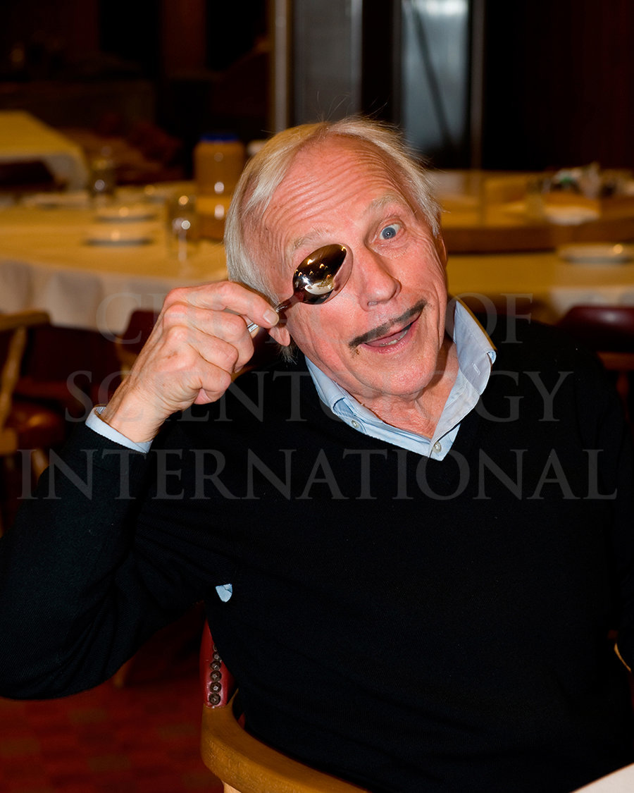 Ron Miscavige Birthday with a spoon over his eye