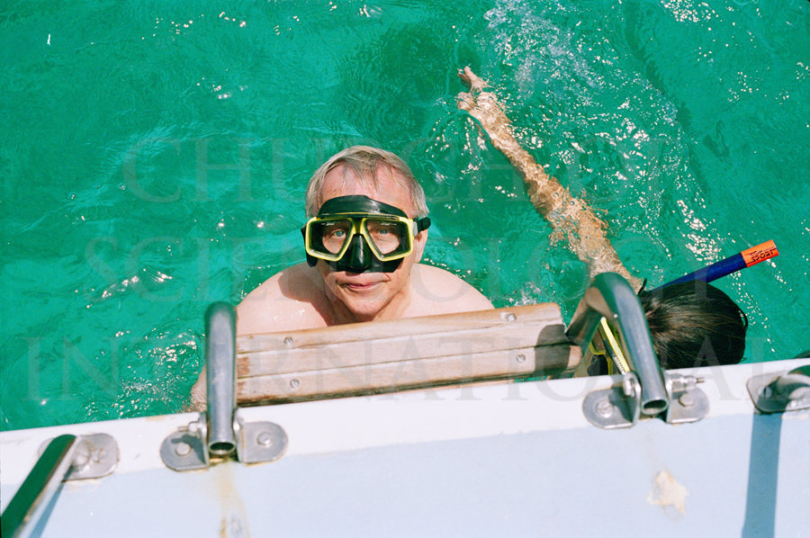 Ron Miscavige snorkeling in water